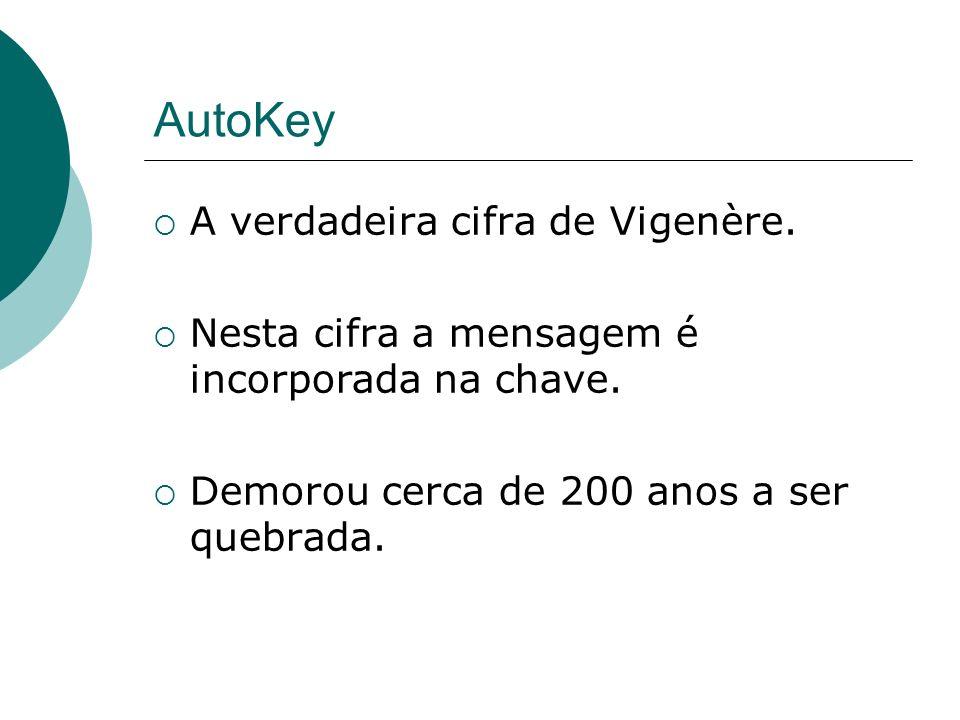 AutoKey A verdadeira cifra de Vigenère. Nesta cifra a mensagem é incorporada na chave. Demorou cerca de 200 anos a ser quebrada.