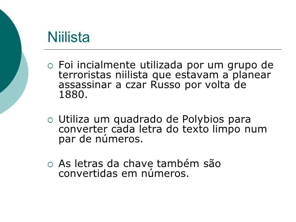 Niilista Foi incialmente utilizada por um grupo de terroristas niilista que estavam a planear assassinar a czar Russo por volta de 1880. Utiliza um qu