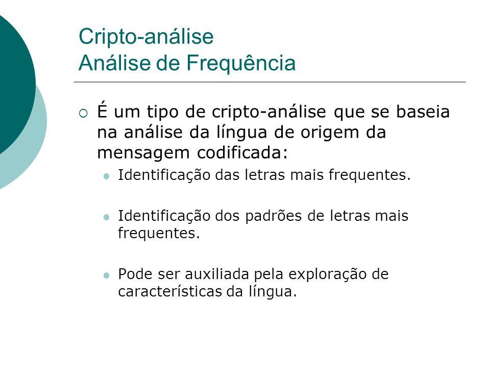 Cripto-análise Análise de Frequência É um tipo de cripto-análise que se baseia na análise da língua de origem da mensagem codificada: Identificação da