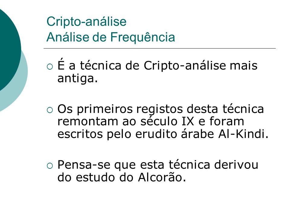 Cripto-análise Análise de Frequência É a técnica de Cripto-análise mais antiga. Os primeiros registos desta técnica remontam ao século IX e foram escr