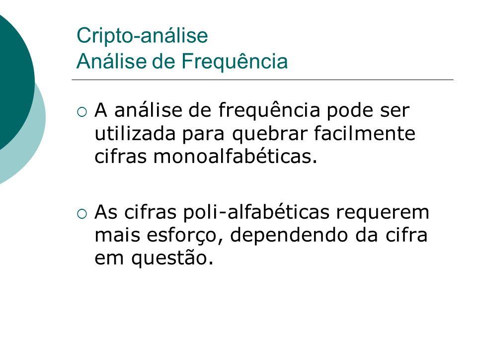 Cripto-análise Análise de Frequência A análise de frequência pode ser utilizada para quebrar facilmente cifras monoalfabéticas. As cifras poli-alfabét