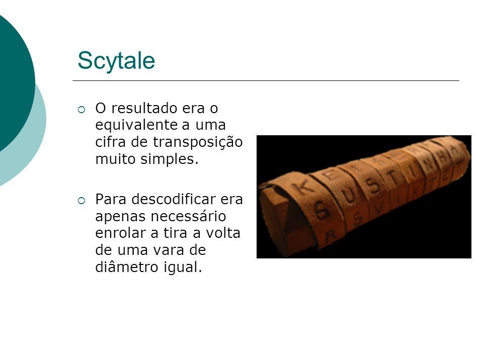 Scytale O resultado era o equivalente a uma cifra de transposição muito simples. Para descodificar era apenas necessário enrolar a tira a volta de uma