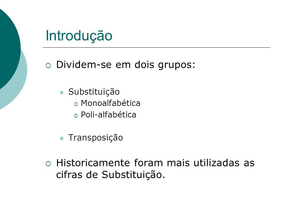 Introdução Dividem-se em dois grupos: Substituição Monoalfabética Poli-alfabética Transposição Historicamente foram mais utilizadas as cifras de Subst