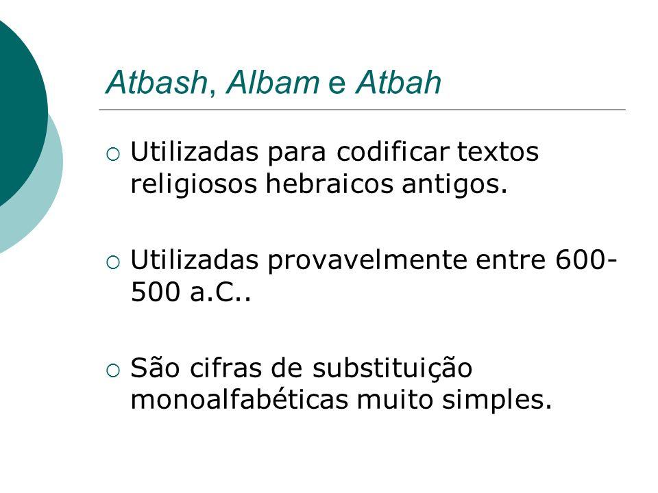 Atbash, Albam e Atbah Utilizadas para codificar textos religiosos hebraicos antigos. Utilizadas provavelmente entre 600- 500 a.C.. São cifras de subst