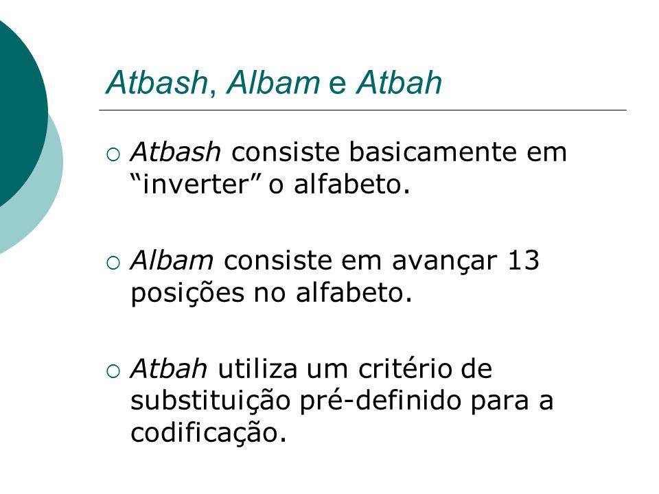 Atbash, Albam e Atbah Atbash consiste basicamente em inverter o alfabeto. Albam consiste em avançar 13 posições no alfabeto. Atbah utiliza um critério