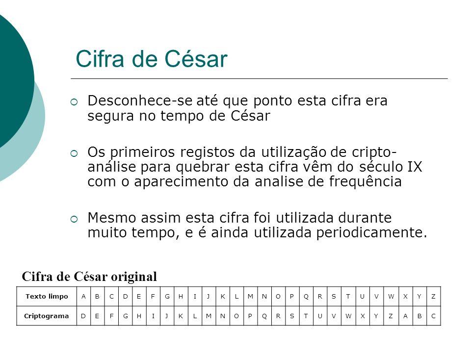 Cifra de César Cifra de César original Texto limpoABCDEFGHIJKLMNOPQRSTUVWXYZ CriptogramaDEFGHIJKLMNOPQRSTUVWXYZABC Desconhece-se até que ponto esta ci