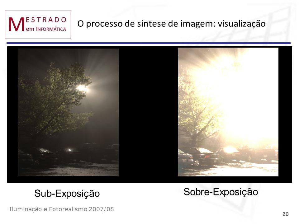O processo de síntese de imagem: visualização Iluminação e Fotorealismo 2007/08 20 Sub-Exposição Sobre-Exposição