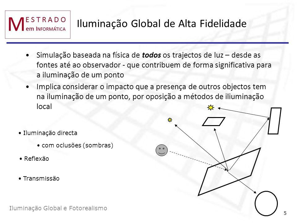 Iluminação Global e Fotorealismo 5 Iluminação Global de Alta Fidelidade Simulação baseada na física de todos os trajectos de luz – desde as fontes até