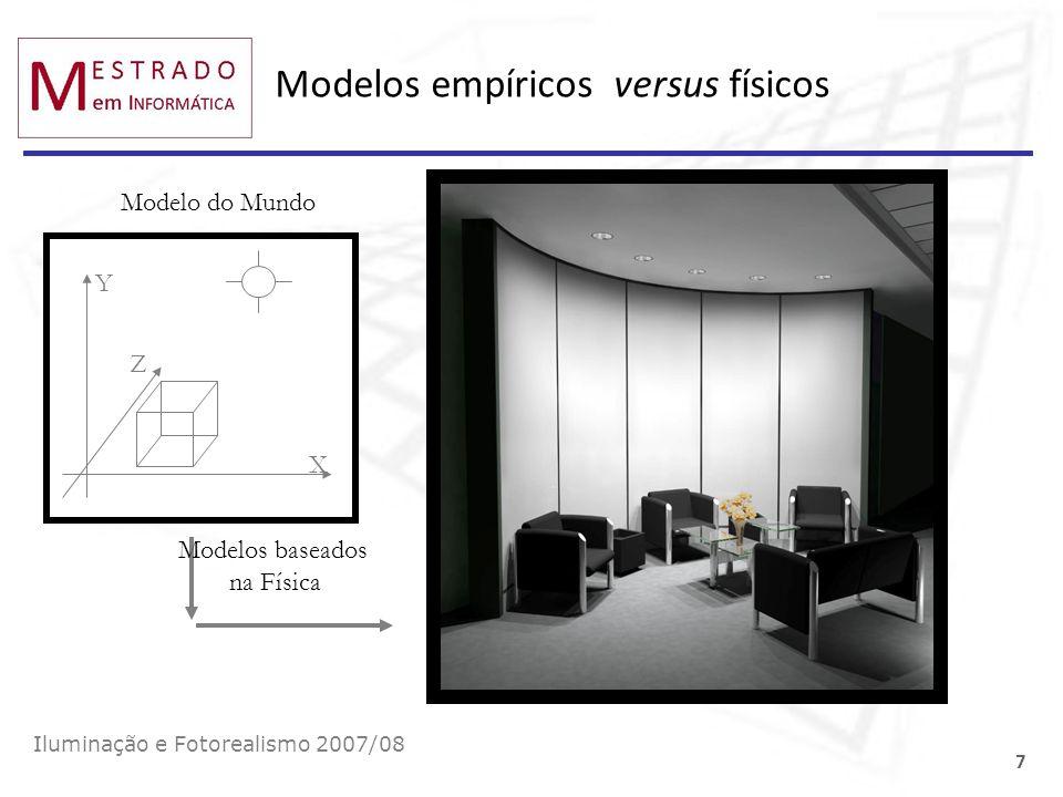 Modelos empíricos versus físicos Iluminação e Fotorealismo 2007/08 7 Y X Z Modelos baseados na Física Modelo do Mundo