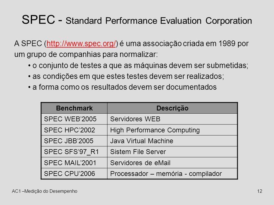AC1 –Medição do Desempenho12 SPEC - Standard Performance Evaluation Corporation A SPEC (http://www.spec.org/) é uma associação criada em 1989 por um g