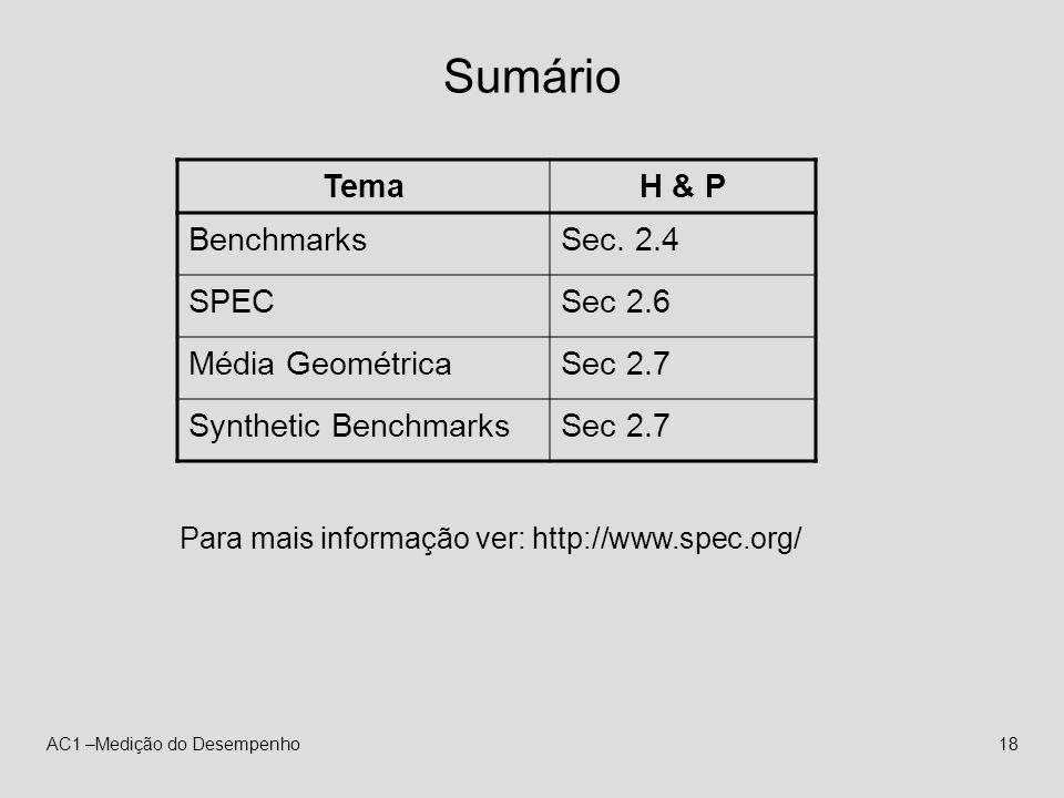AC1 –Medição do Desempenho18 Sumário TemaH & P BenchmarksSec. 2.4 SPECSec 2.6 Média GeométricaSec 2.7 Synthetic BenchmarksSec 2.7 Para mais informação