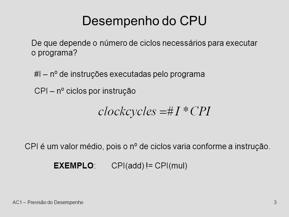 AC1 – Previsão do Desempenho3 Desempenho do CPU De que depende o número de ciclos necessários para executar o programa.
