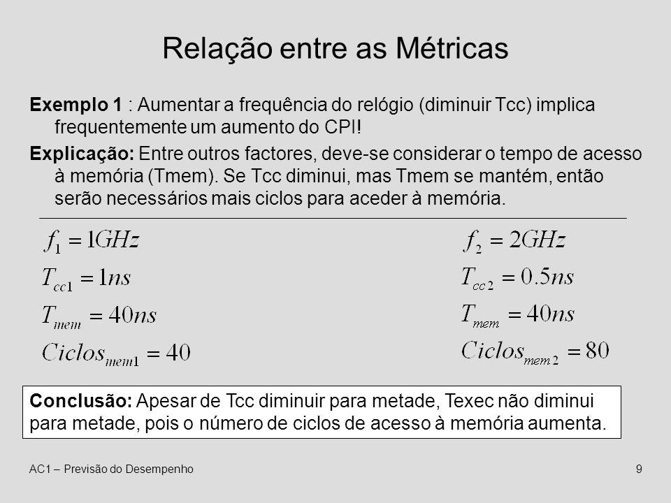 AC1 – Previsão do Desempenho9 Relação entre as Métricas Exemplo 1 : Aumentar a frequência do relógio (diminuir Tcc) implica frequentemente um aumento do CPI.