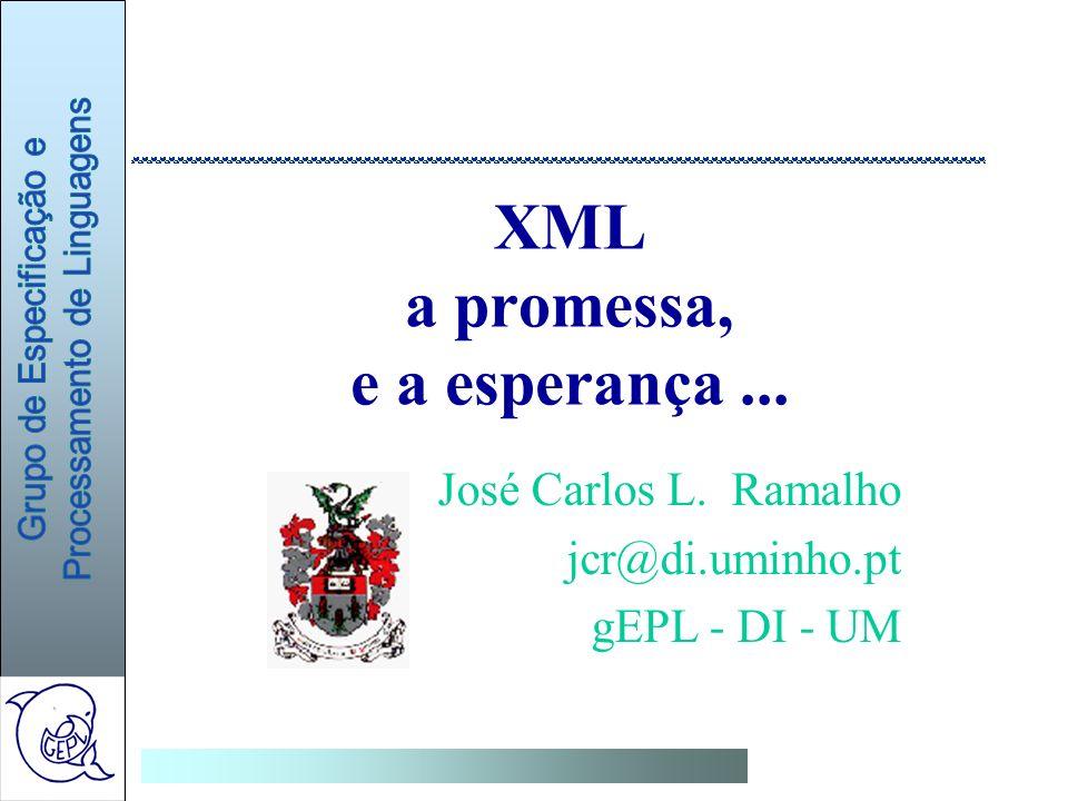 XML a promessa, e a esperança... José Carlos L. Ramalho jcr@di.uminho.pt gEPL - DI - UM