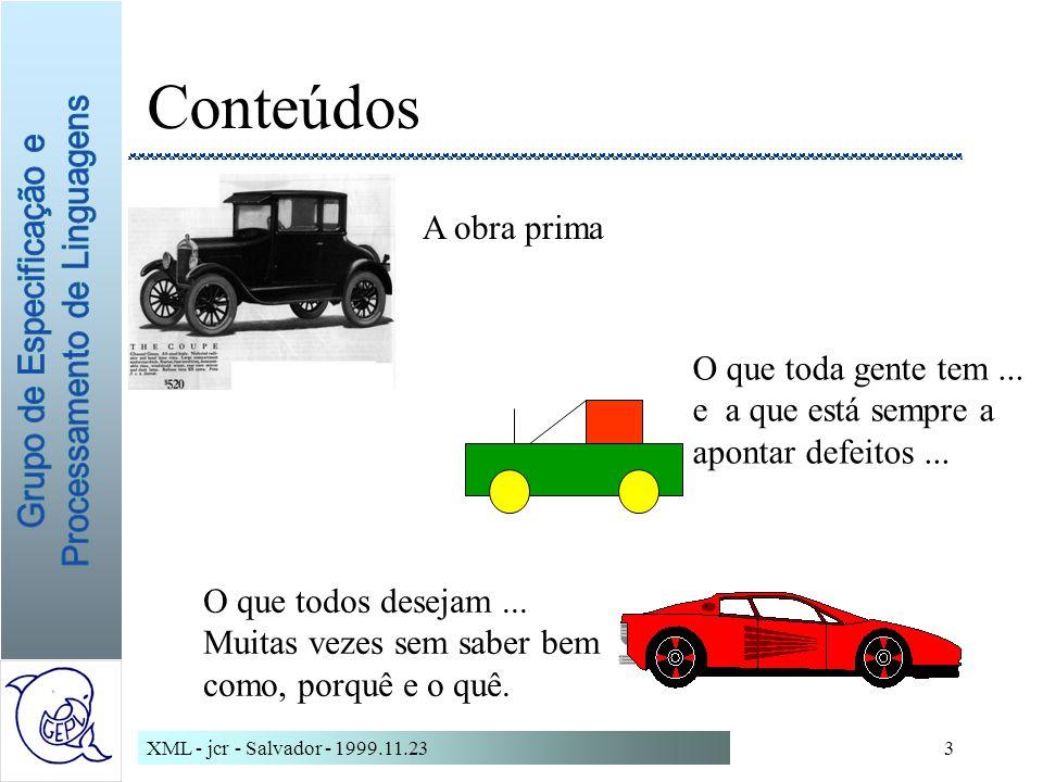 XML - jcr - Salvador - 1999.11.233 Conteúdos A obra prima O que toda gente tem...