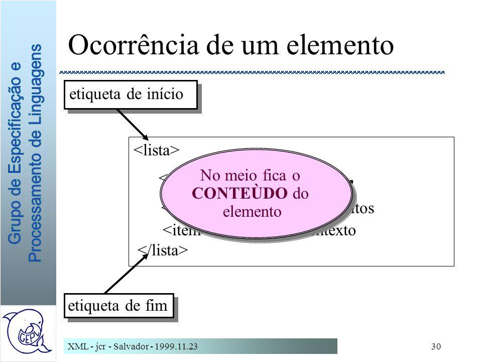 XML - jcr - Salvador - 1999.11.2330 Ocorrência de um elemento em SGML...