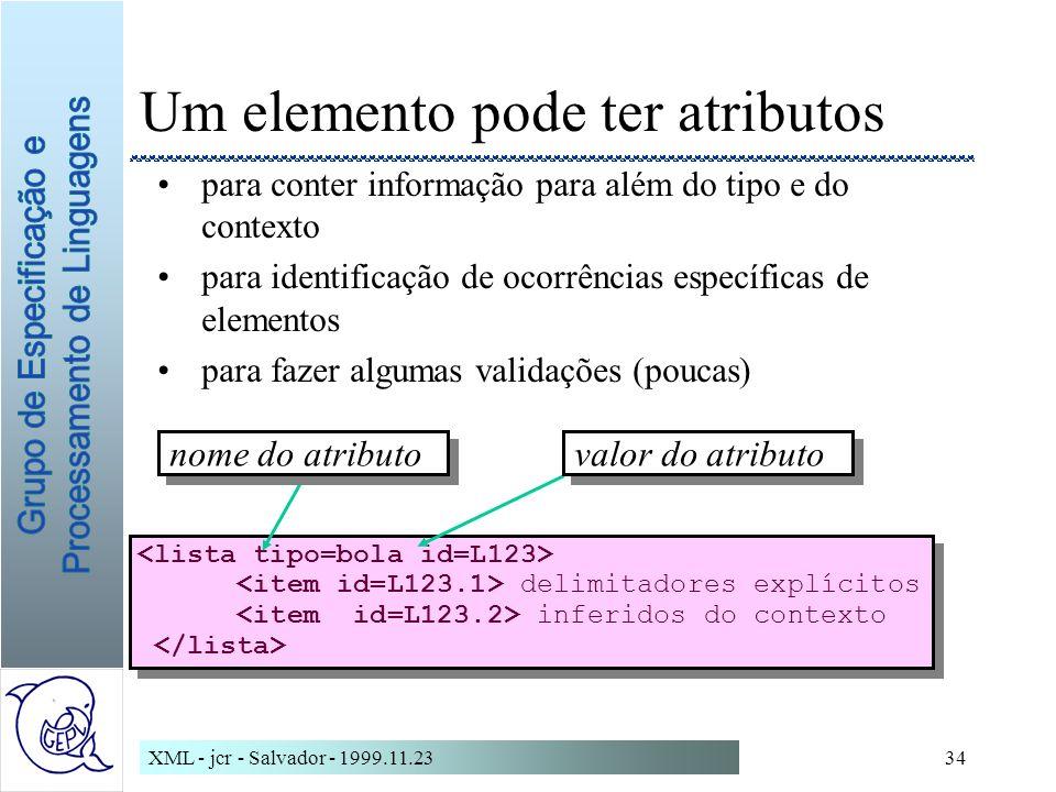 XML - jcr - Salvador - 1999.11.2334 delimitadores explícitos inferidos do contexto delimitadores explícitos inferidos do contexto Um elemento pode ter atributos para conter informação para além do tipo e do contexto para identificação de ocorrências específicas de elementos para fazer algumas validações (poucas) nome do atributo valor do atributo