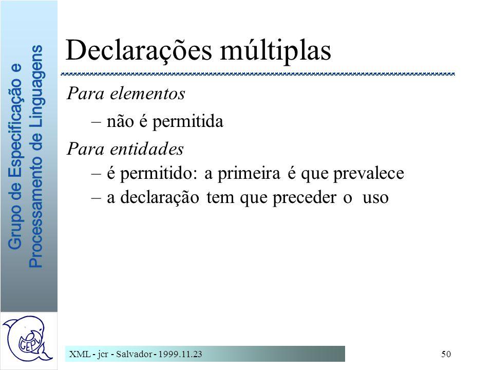 XML - jcr - Salvador - 1999.11.2350 Declarações múltiplas Para elementos –não é permitida Para entidades –é permitido: a primeira é que prevalece –a declaração tem que preceder o uso