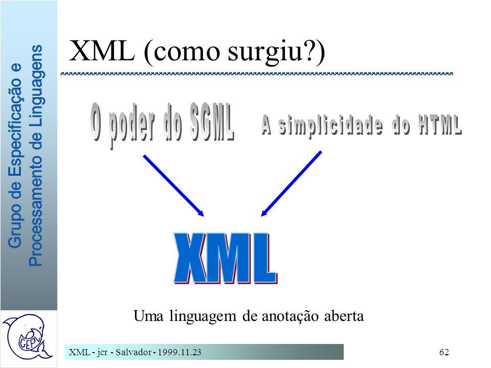 XML - jcr - Salvador - 1999.11.2362 XML (como surgiu?) Uma linguagem de anotação aberta