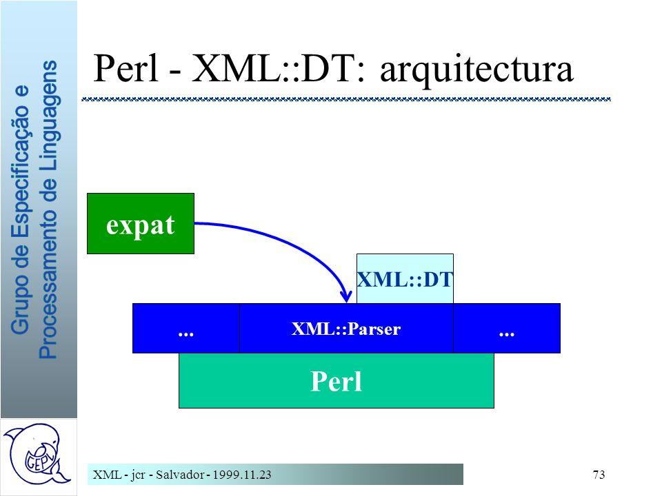 XML - jcr - Salvador - 1999.11.2373 Perl - XML::DT: arquitectura Perl...
