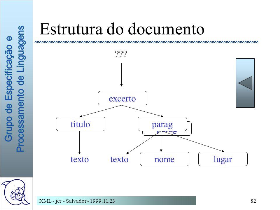 XML - jcr - Salvador - 1999.11.2382 Estrutura do documento parag excerto títuloparag nomelugar texto ???