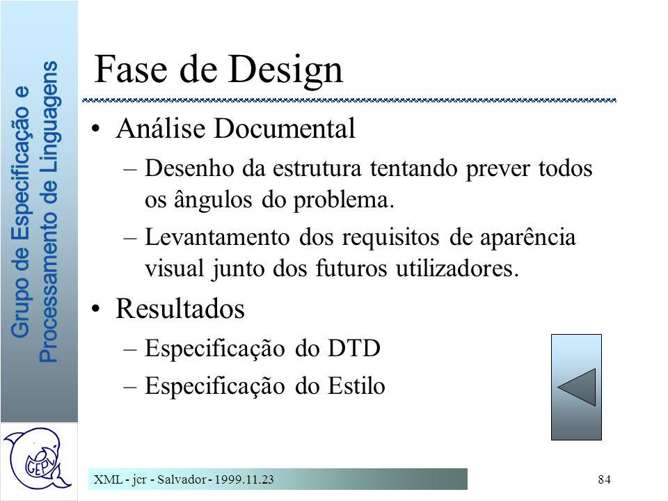 XML - jcr - Salvador - 1999.11.2384 Fase de Design Análise Documental –Desenho da estrutura tentando prever todos os ângulos do problema.