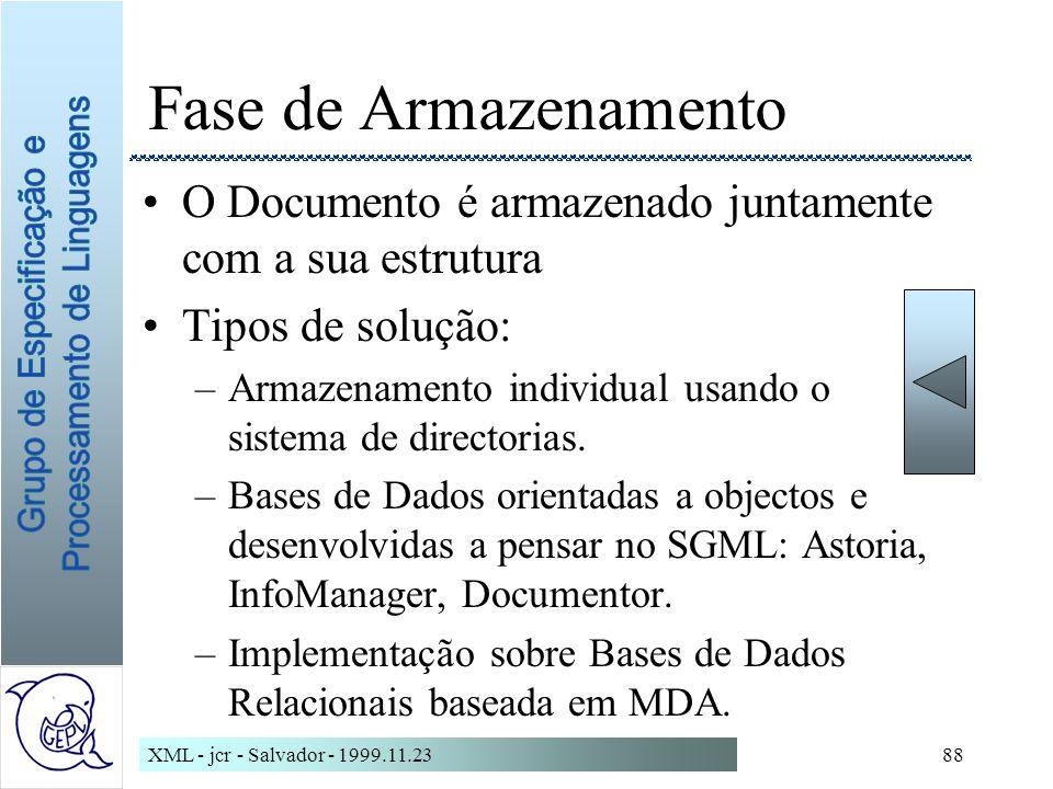 XML - jcr - Salvador - 1999.11.2388 Fase de Armazenamento O Documento é armazenado juntamente com a sua estrutura Tipos de solução: –Armazenamento individual usando o sistema de directorias.