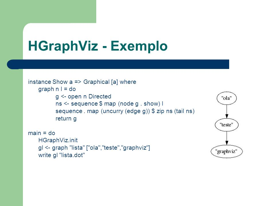 HGraphViz - Exemplo instance Show a => Graphical [a] where graph n l = do g <- open n Directed ns <- sequence $ map (node g. show) l sequence. map (un
