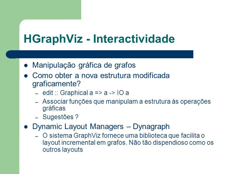 HGraphViz - Interactividade Manipulação gráfica de grafos Como obter a nova estrutura modificada graficamente? – edit :: Graphical a => a -> IO a – As