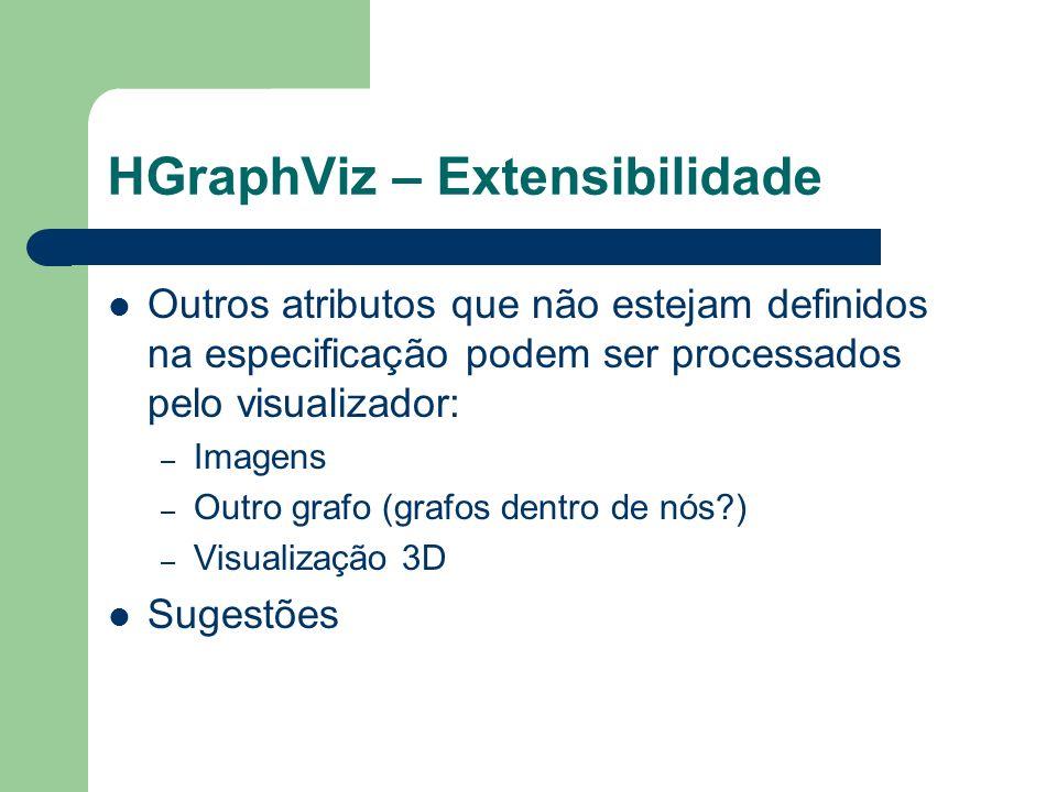 HGraphViz – Extensibilidade Outros atributos que não estejam definidos na especificação podem ser processados pelo visualizador: – Imagens – Outro gra