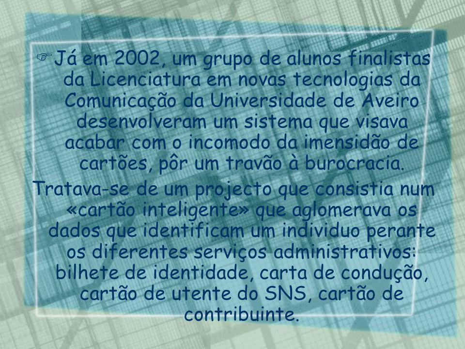 Já em 2002, um grupo de alunos finalistas da Licenciatura em novas tecnologias da Comunicação da Universidade de Aveiro desenvolveram um sistema que v