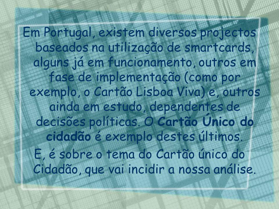 Em Portugal, existem diversos projectos baseados na utilização de smartcards, alguns já em funcionamento, outros em fase de implementação (como por ex
