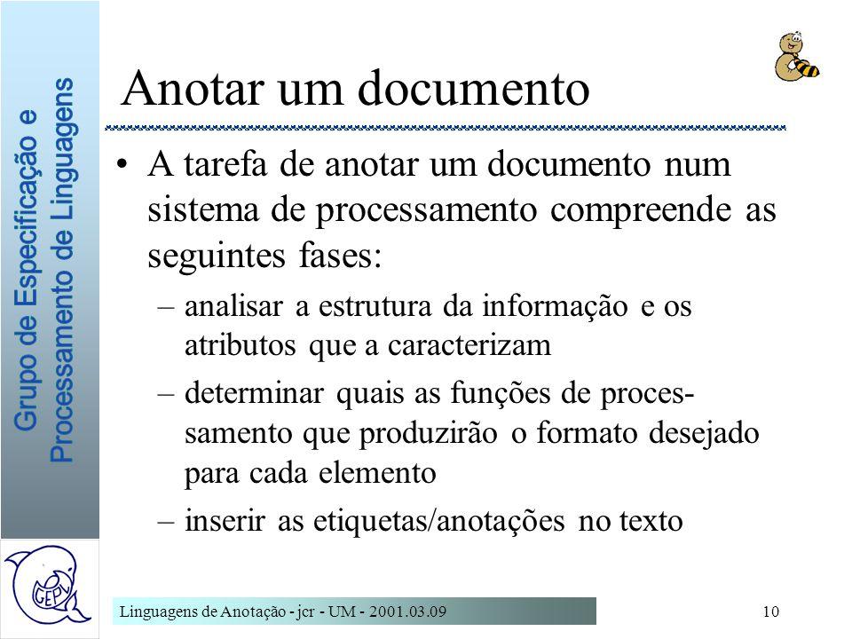 Linguagens de Anotação - jcr - UM - 2001.03.0910 Anotar um documento A tarefa de anotar um documento num sistema de processamento compreende as seguin