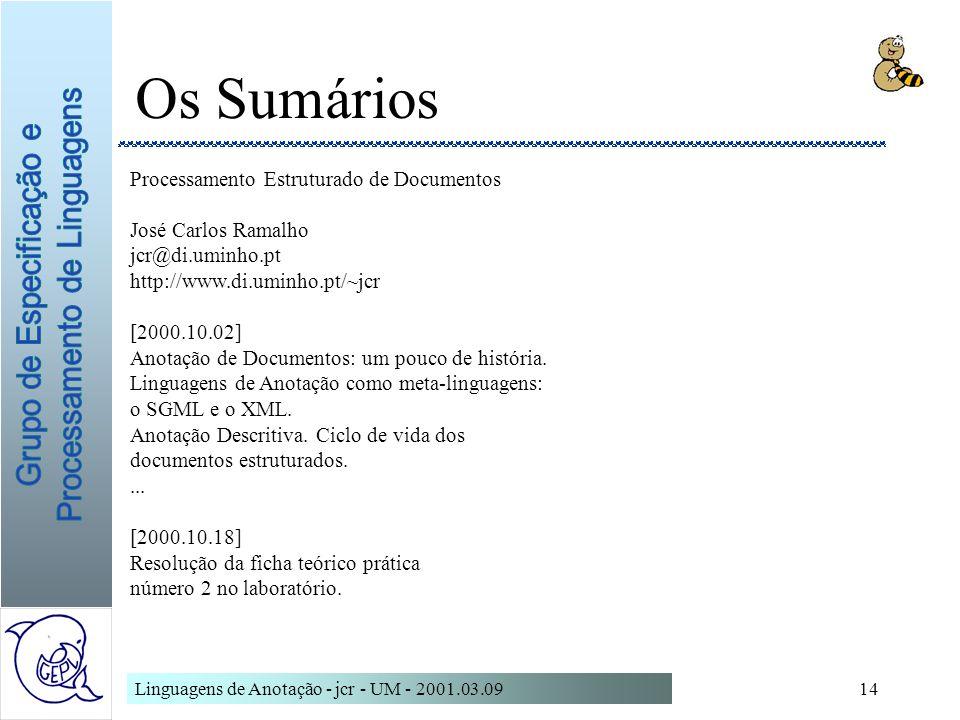 Linguagens de Anotação - jcr - UM - 2001.03.0914 Os Sumários Processamento Estruturado de Documentos José Carlos Ramalho jcr@di.uminho.pt http://www.d