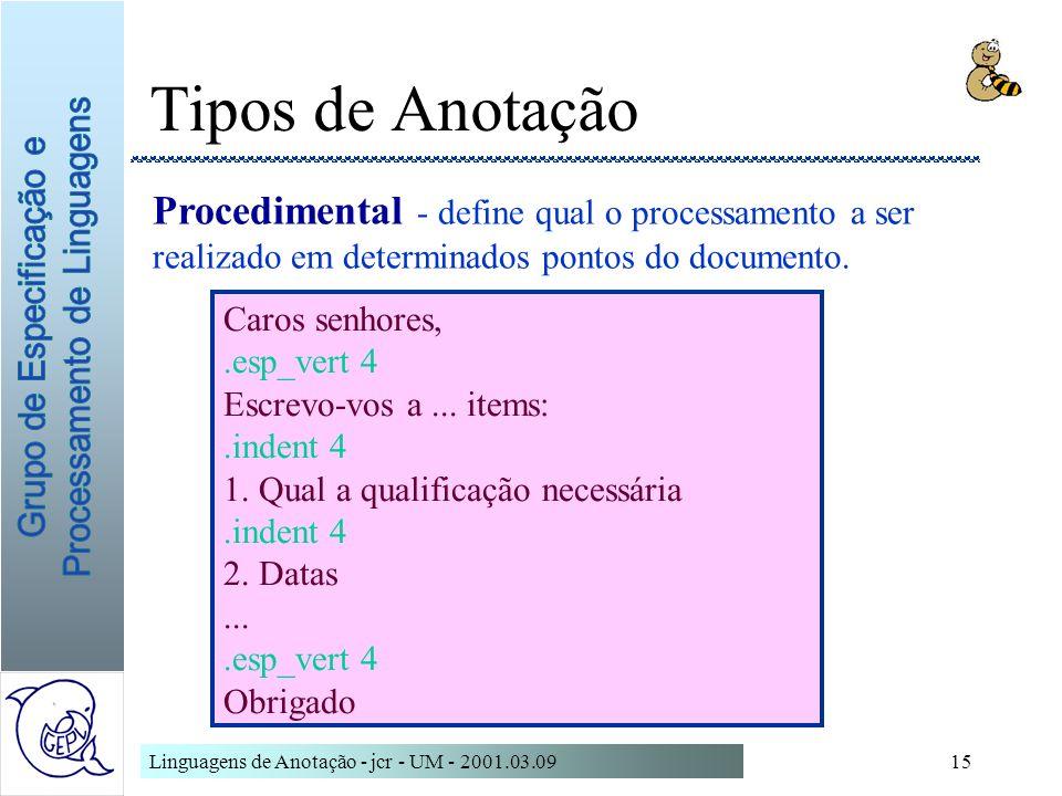 Linguagens de Anotação - jcr - UM - 2001.03.0915 Tipos de Anotação Procedimental - define qual o processamento a ser realizado em determinados pontos