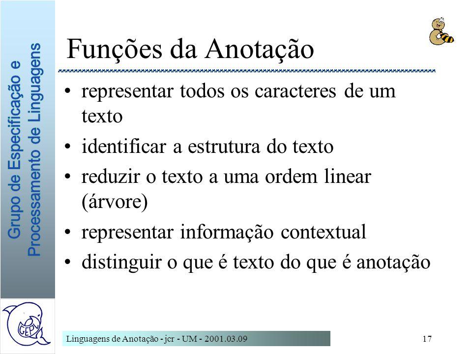 Linguagens de Anotação - jcr - UM - 2001.03.0917 Funções da Anotação representar todos os caracteres de um texto identificar a estrutura do texto redu