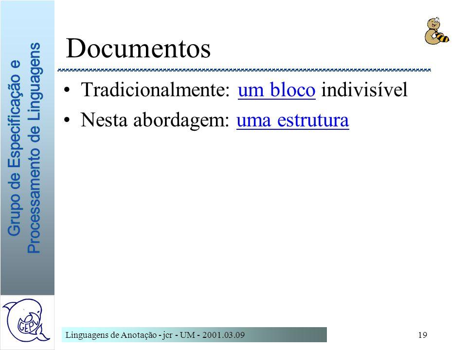 Linguagens de Anotação - jcr - UM - 2001.03.0919 Documentos Tradicionalmente: um bloco indivisívelum bloco Nesta abordagem: uma estruturauma estrutura