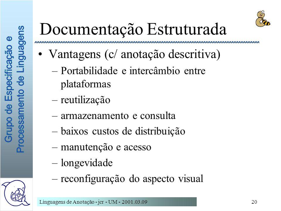 Linguagens de Anotação - jcr - UM - 2001.03.0920 Documentação Estruturada Vantagens (c/ anotação descritiva) –Portabilidade e intercâmbio entre plataf