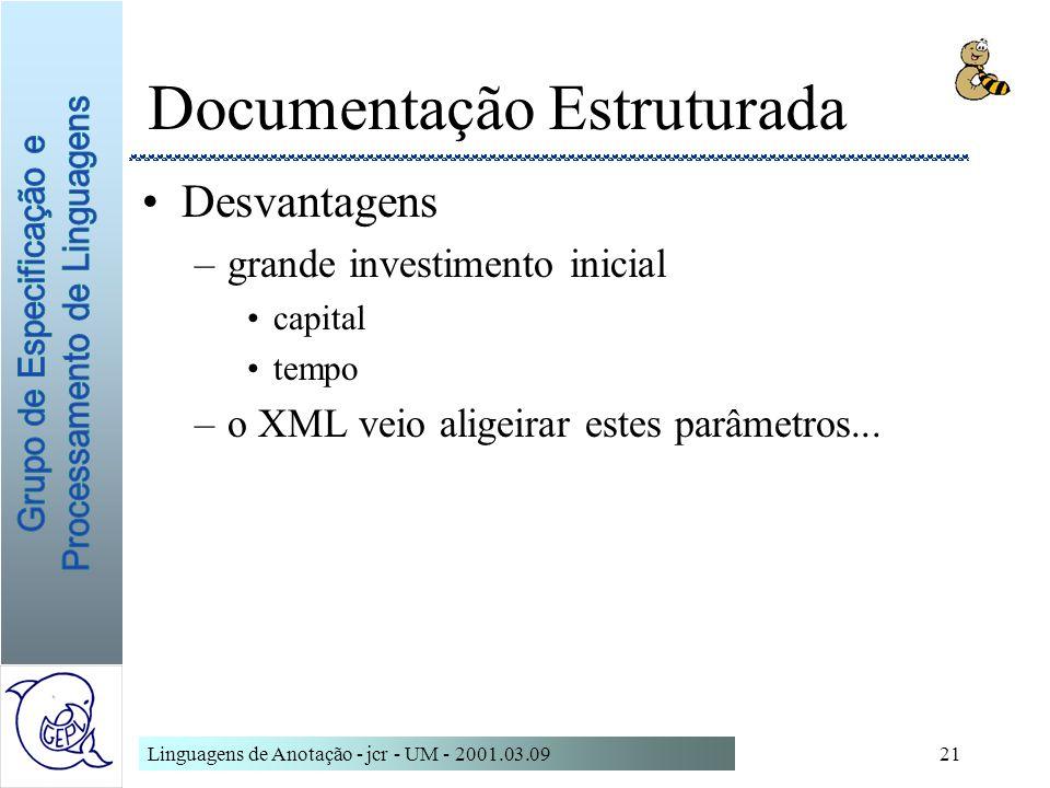 Linguagens de Anotação - jcr - UM - 2001.03.0921 Documentação Estruturada Desvantagens –grande investimento inicial capital tempo –o XML veio aligeira