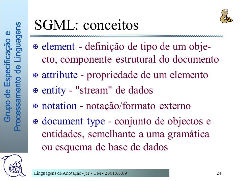 Linguagens de Anotação - jcr - UM - 2001.03.0924 SGML: conceitos X element - definição de tipo de um obje- cto, componente estrutural do documento X a