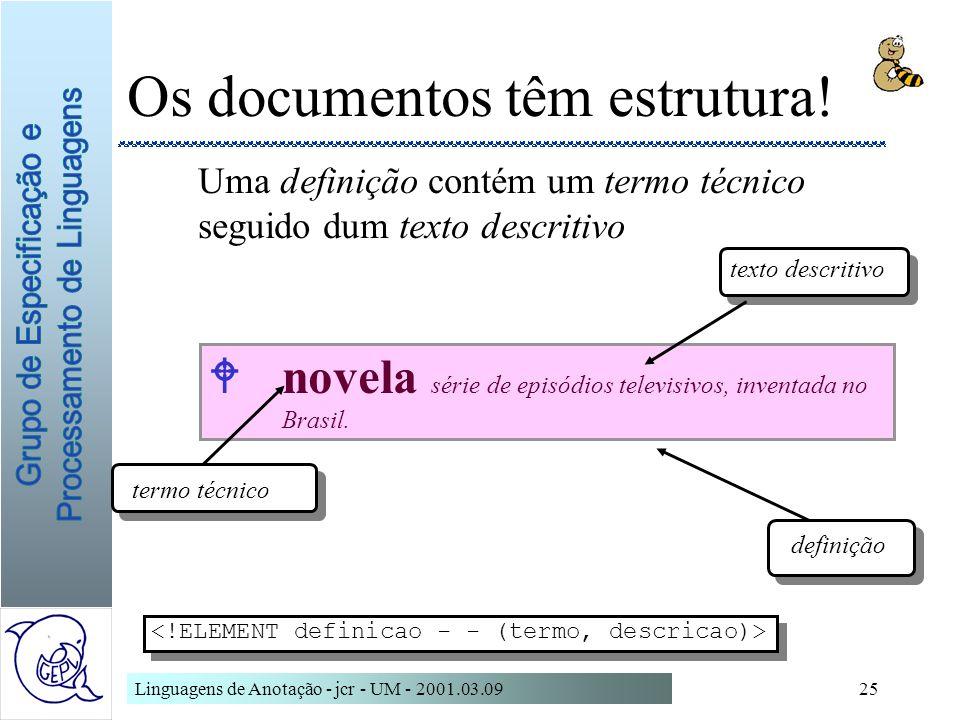 Linguagens de Anotação - jcr - UM - 2001.03.0925 Wnovela série de episódios televisivos, inventada no Brasil. Os documentos têm estrutura! Uma definiç