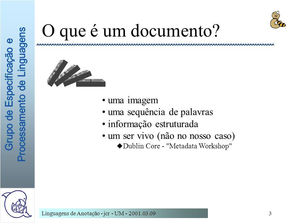 Linguagens de Anotação - jcr - UM - 2001.03.0954 A Declaração do Tipo de Documento contém as declarações para –elementos, atributos, entidades define uma hierarquia única de elementos é normalmente invocada por referência pode ser modificada por um subset do DTD