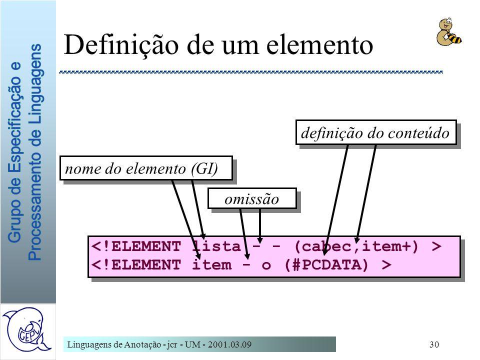 Linguagens de Anotação - jcr - UM - 2001.03.0930 Definição de um elemento nome do elemento (GI) definição do conteúdo omissão