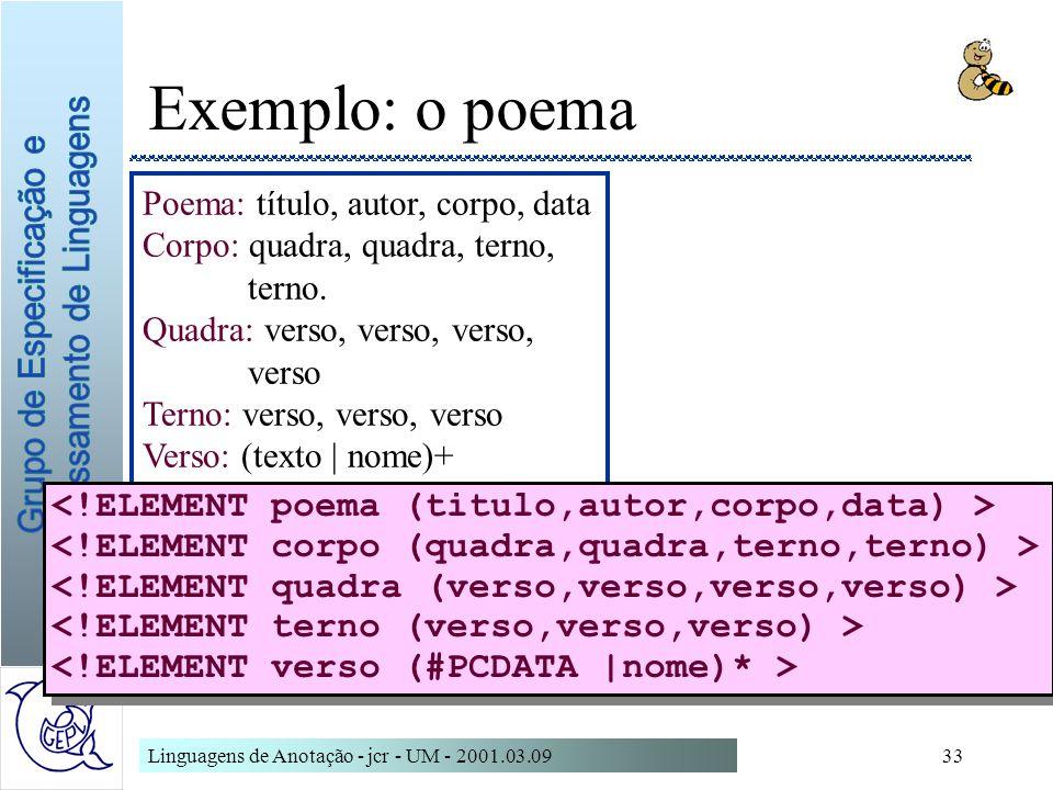 Linguagens de Anotação - jcr - UM - 2001.03.0933 Exemplo: o poema Poema: título, autor, corpo, data Corpo: quadra, quadra, terno, terno. Quadra: verso