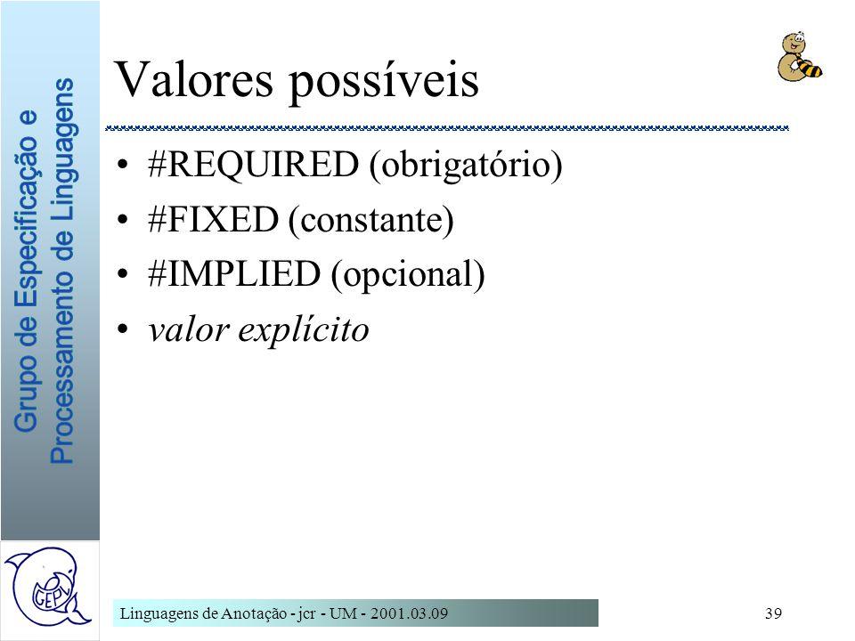 Linguagens de Anotação - jcr - UM - 2001.03.0939 Valores possíveis #REQUIRED (obrigatório) #FIXED (constante) #IMPLIED (opcional) valor explícito