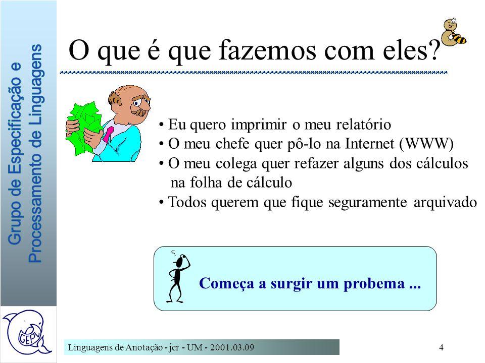 Linguagens de Anotação - jcr - UM - 2001.03.095 Que suportes utilizamos.