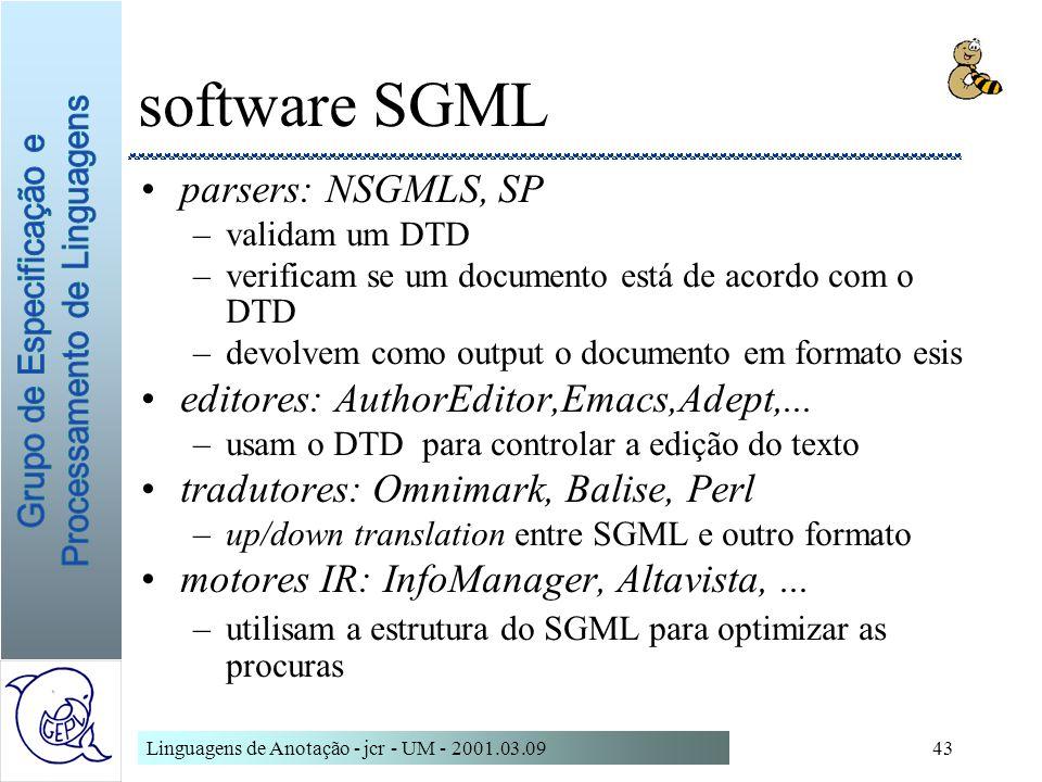 Linguagens de Anotação - jcr - UM - 2001.03.0943 software SGML parsers: NSGMLS, SP –validam um DTD –verificam se um documento está de acordo com o DTD