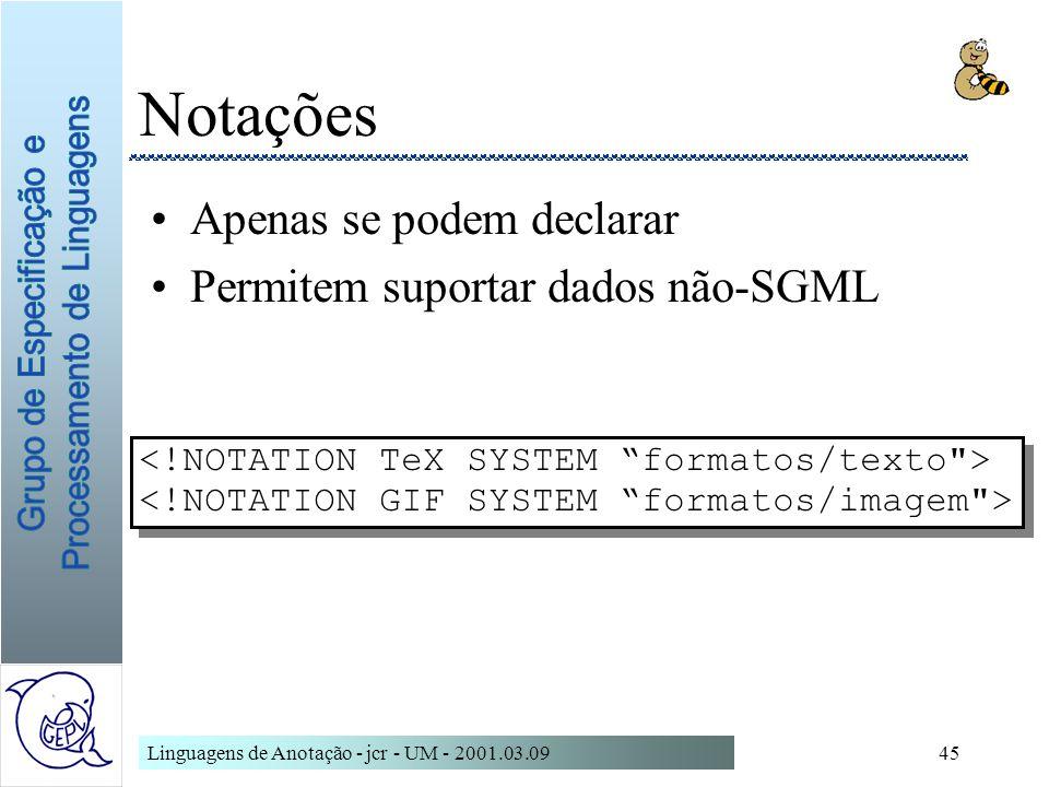 Linguagens de Anotação - jcr - UM - 2001.03.0945 Notações Apenas se podem declarar Permitem suportar dados não-SGML