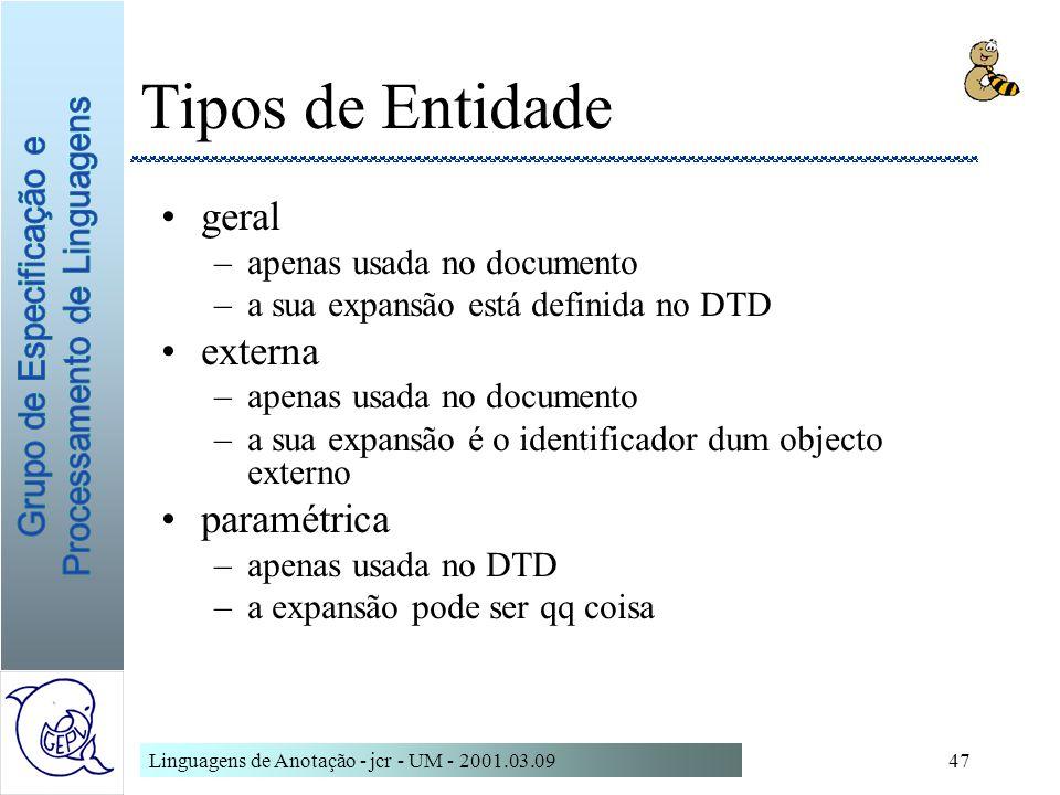 Linguagens de Anotação - jcr - UM - 2001.03.0947 Tipos de Entidade geral –apenas usada no documento –a sua expansão está definida no DTD externa –apen