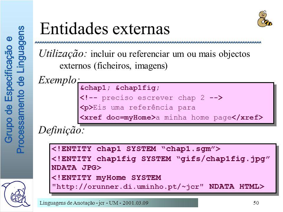 Linguagens de Anotação - jcr - UM - 2001.03.0950 Entidades externas Utilização: incluir ou referenciar um ou mais objectos externos (ficheiros, imagen
